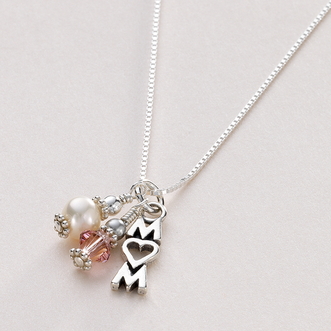 Sterling Silver Mum Pendant Necklace With Birthstone