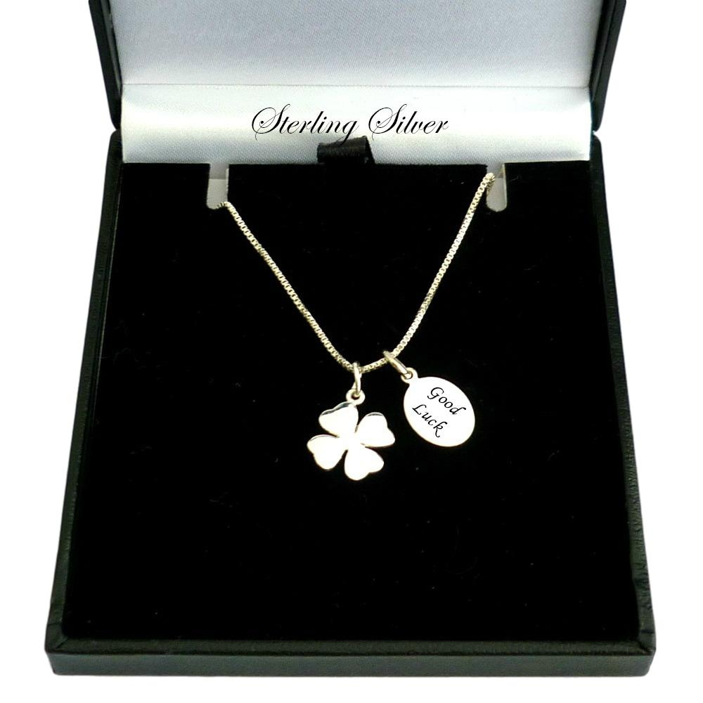 leaf sterling cn magic clover ts four necklace tinysand p silver