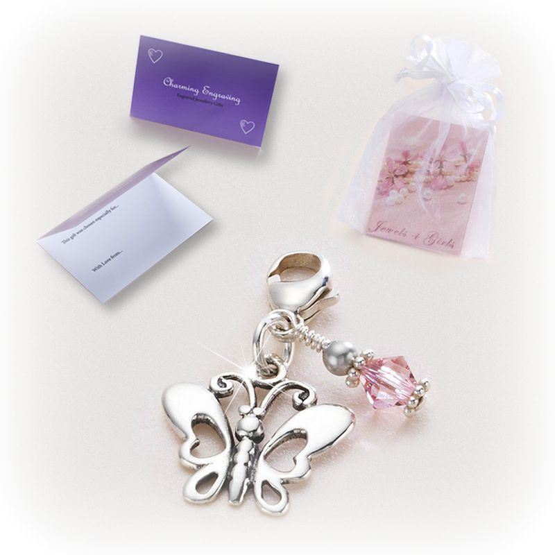 Silver Butterfly Charm with Birthstone