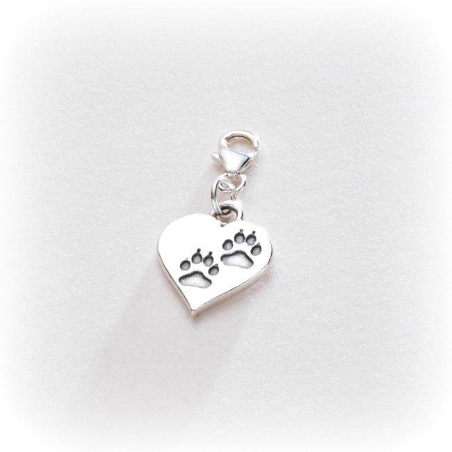 Silver Paws on Heart Charm