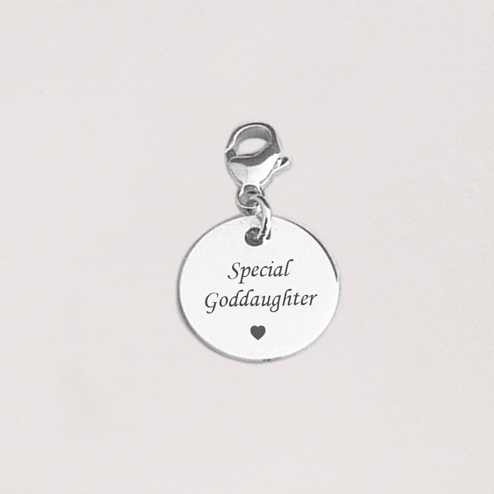 Silver Round Goddaughter Charms